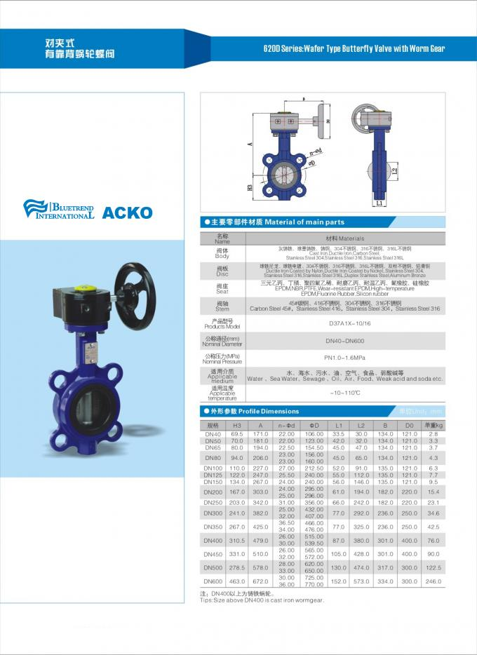 Blue Wafer Type Butterfly Valve  ,  Worm Gear Wafer Pattern Butterfly Valve