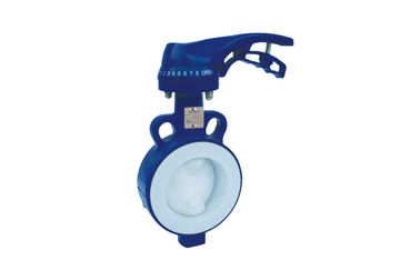 High Temperature PTFE Lined Butterfly Valve Handled  Apply In Sea Water Sewage