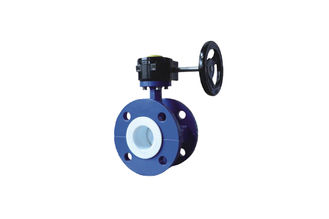 Stainless Steel PTFE Lined Worm Gear Butterfly Valve  , High Performance Flanged Butterfly Valve